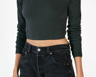 Redesigned Vintage Wolford Gray Turtleneck Crop Top