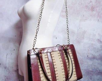 Fiber Street VINTAGE! rare beautiful details and metal design bag