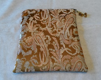 Brown Paisley Brocade Fabric Tarot Oracle Lenormand Cosmetic Zippered Handmade Bag