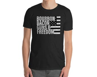 Bourbon Bacon Guns & Freedom T-shirt Flag Tee