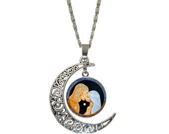 MOON LOVERS - Art,Jewelry,Necklaces,Chokers.Kiss,Couple,Love,Lovers,Moon,Woman,Man,Sun.Visionary,Silver.Bronze,Fantastic,Amazing,Symbols.