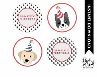 Dog Cupcake Topper / Puppy Cupcake Topper / Doggie Cupcake Topper / Puppy Dog Cupcake Topper / Doggy Canine Round Labels DG02
