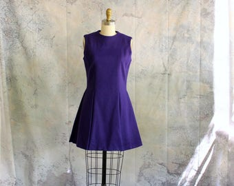 vintage cheerleader dress, purple wool sleeveless ice skater dress . 50s 1960s mini dress with full circle skirt . APPROX medium large women