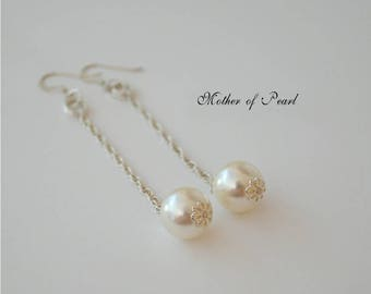 "Mother of pearl 2 1/2"" dangles, high luster white round 12mm pearls, large white round mother of pearl drops, .925 sterling silver fishhooks"
