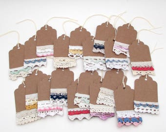 20 Shabby Gift Tags - Wedding Favors - embellished tag - Mixed Media Tags - Vintage Lace Tag - kraft tag - Hang Tags bulk product packaging