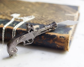 Silver Flintlock Pistol Gun Pocket Knife Necklace