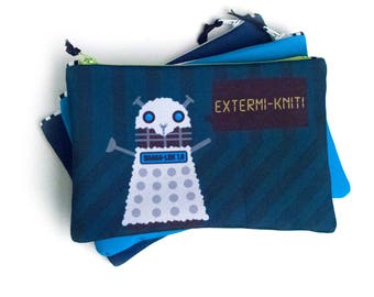 Zipper Bag, Doctor Who Parody, Extermiknit, Baa-Lek,  Knitting Notions Bag