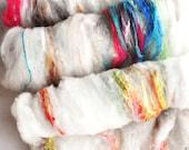 Textured, Chunky Carded Art Batts - Clouded Rainbows- 4 ounces - For Spinning or Felting
