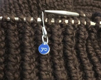 Tiny increase stitch markers -  Yo - yarn over