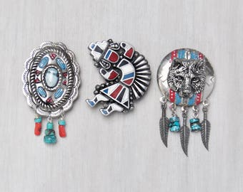 3 Southwestern Fridge Magnets -  kachina dancer wolf totem concho feather - recycled vintage jewelry - refrigerator magnet set