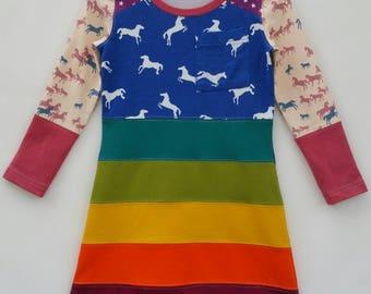 Size 5 upcycled girls rainbow dress, girls clothing, horses ,kidsclothes, kidswear, girl, horse, girls dress, upcycling, ponies