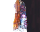 Reserved. Final Payment, Caftan Dress, Beaded, Recycled Fabrics, Queensland, Australia, Roses, Silk, Cotton, Extra Large, Free Size
