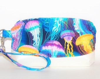 Jellyfish Wristlet Purse - Sea Creatures, Jellyfish Fabric, Pearlescent Vinyl, Digital Camera Bag, Fabric Purse, Makeup Case, Clutch Purse