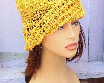Crochet Sun Hat, Crochet Hat, Hemp Hat, Womens Hat, Ombretta Crochet Beanie Hat, Yellow Hat, Hemp Twine, Hemp Cord