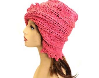 Womens Crochet Hat, Womens Hat, Personalized Gift for Women Crochet Bucket Hat Women Rosy Pink Hat Cotton Hat, Lauren Summer Hat Pink Beanie