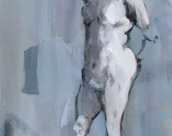 Original Painting Nude Figure Study Acrylic Painting 12x9 by David Lloyd