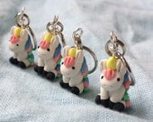 Stitch Markers, Cute Unicorn, Polymer Clay, Knitting Projects, Miniature, Knitting Notions, Sculpted, Whimsical, Crochet Accessories Set 4