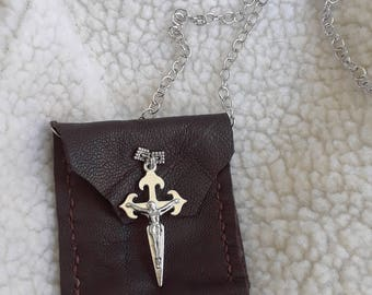 Dark Hand Stitched Leather Prayer Pouch Amulet Necklace
