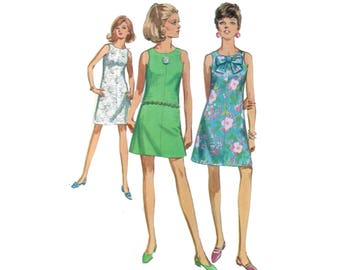 60s uncut A-line Dress Pattern Pussy Bow Dress vintage 36-27-38 Mini Dress pattern Sundress pattern Bust 36 Simplicity 7010