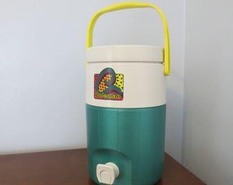 Vintage Coleman Drink Cooler Jug 80s 90s Graphic Teal Plastic Handle Sports Camping Spout Nozzle