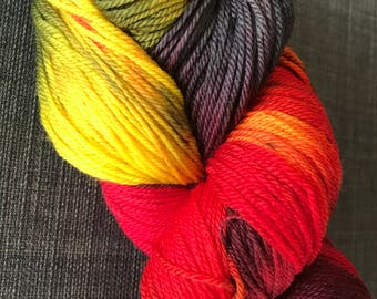 Fire and Ice indie dyed fingering weight yarn