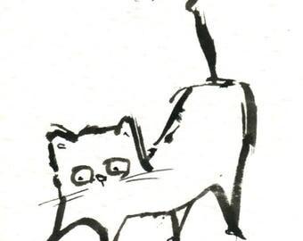 Original Black Cat Gouache Painting ACEO number 158