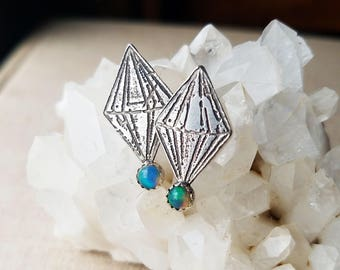 Opal Earrings, sterling silver post earrings, semiprecious etched geometric diamond crystal gift for