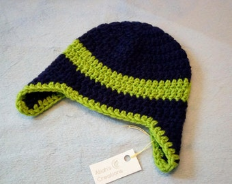 Blue and Lime Crocheted Ear Flap Hat