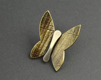 Butterfly Pin, butterfly brooch, brass, mixed metal, sterling silver, texture, oxidized, metalsmith, bug, insect, wings, scatter pin, metal
