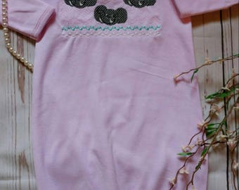 Baby girl coming home outfit, baby girl elephant shower, layette gown, smocked baby clothes, elephant shower gift, take home outfit, baby