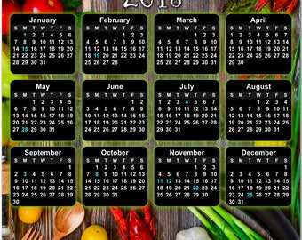 """What's for dinner?  A Beautiful Bounty of Colorful Food 2018 Full Year View 8"""" Calendar - Magnet or Wall #3843"""