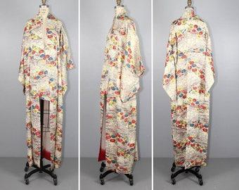 vintage kimono / dressing gown / AOMAME floral silk robe / 1950s