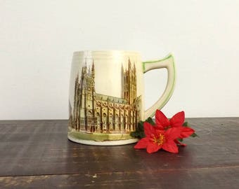 Vintage Brentleigh Ware Mug, Canterbury Cathedral Beer Stein, Staffordshire England, Collectible Barware, Architectural Building Cup