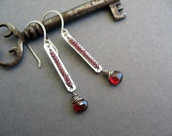 Garnet Earrings, Dangle Earrings, January Birthstone, Red Earrings, Wire Wrapped, Gemstone Earrings, Sterling Silver Earrings, brendamcgowan