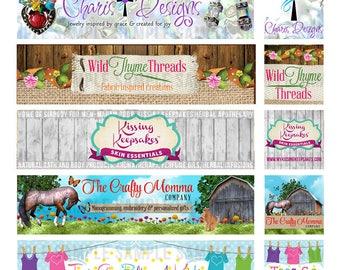 Custom Shop Banner, Etsy Banner Design, Etsy Shop Icon, Custom Store Graphic Design, Etsy Shop Cover, Wood Etsy Banner, Cover Photo