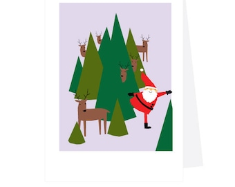 Holiday Cards Santa playing hide and seek with his reindeer 4 Note Cards
