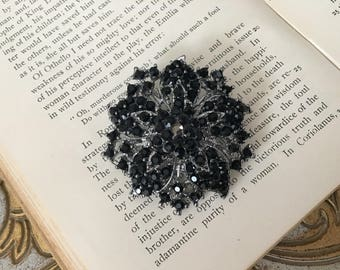 Black Rhinestone Brooch.Black Crystal Brooch.Black Flower Brooch.Black Pin.broach.Bridal Accessory.Bride.Bridesmaid.Black Silver Brooch