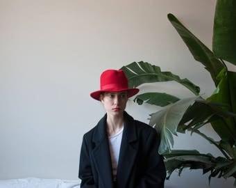 wool felt scarf hat / red felt hat / 1751a