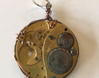 Steampunk Watch Pendant Copper and Brass