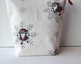 Christmas Project Bag - Sock Knitting Bag - Sock Sack - Knitting Project Bag - Crochet Project Bag - Embroidery Bag - (Medium)
