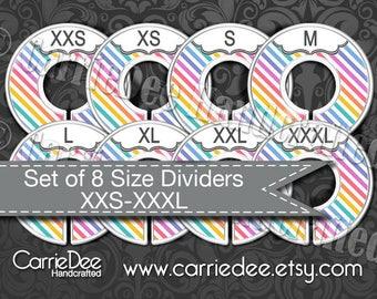 Assembled Clothing Size Dividers, Consultant Tools, LuLaRoe Size Divider Set, Diagonal Stripe Design, LLR Size Cards