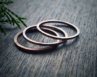 Copper Stacking Rings, Oxidized Copper, Stackable Copper Rings, Thin Copper Rings, Hammered Copper Ring, Copper Ring Set, Rustic Copper