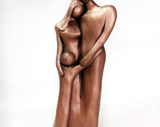 Featured listing image: 7th Anniversary Family Portrait Sculpture, Copper Anniversary Gift, Gift for Her for Him, 7 Year Anniversary Gift, Copper Family Portrait