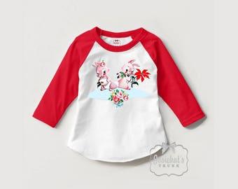 Girls Christmas Shirt - Christmas Gift Kids - Christmas Bunnies Shirt - Toddler Christmas Shirt - Retro Christmas Shirt - Red White Baseball