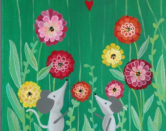 WOODLAND Mouse NURSERY Art painting MICE Zinnia painting wall hanging baby shower gift kids room decor playroom art on canvas