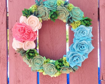 Handcut Felt Flower Wreath with Succulents
