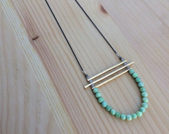 the Kirsten necklace in tourmalinated quartz and peruvian opal with brass bars | sterling silver chain | statement necklace | gift for her