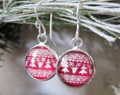 Reindeer Sweater - Red and White Christmas Sweater Earrings with Shimmer