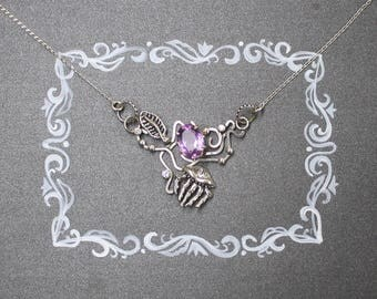 Jellyfish necklace. Pink amethyst silver necklace. Delicate necklace.