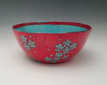 Extra Large Ceramic Serving Bowl Red Bowl Salad Bowl Bright Colorful Fruit Bowl